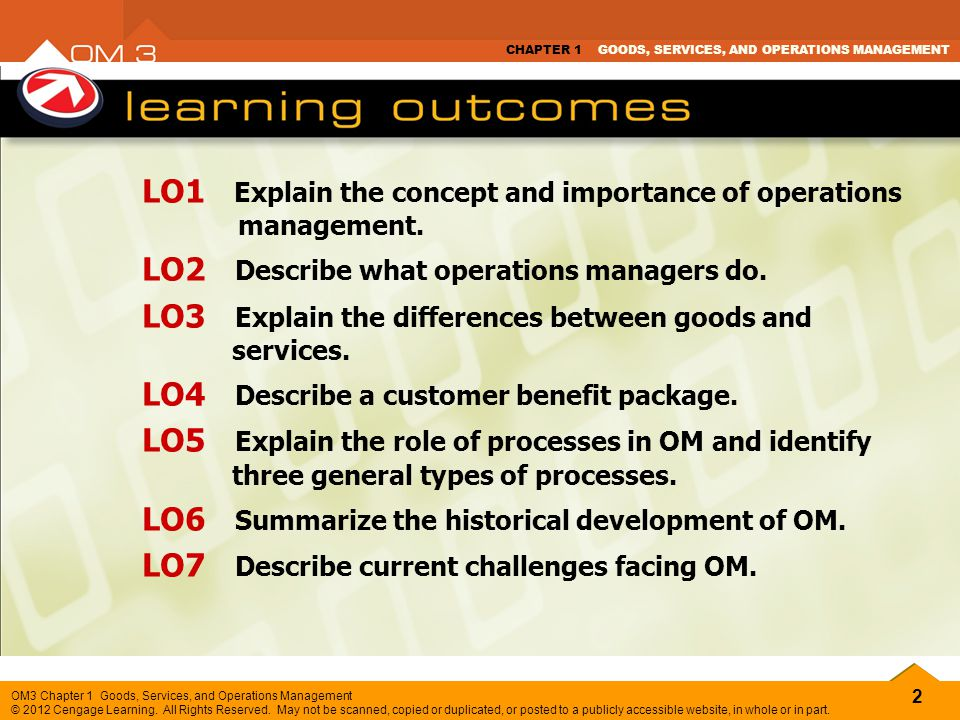 LO1 Explain the concept and importance of operations management.