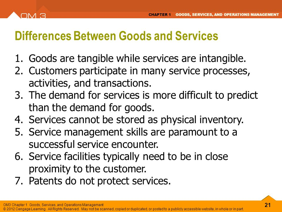 Differences Between Goods and Services