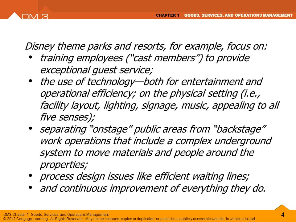 Disney theme parks and resorts, for example, focus on: