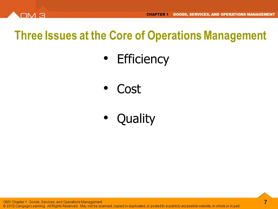 Three Issues at the Core of Operations Management