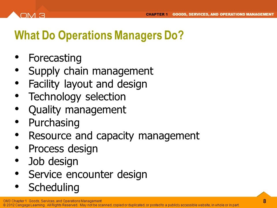What Do Operations Managers Do