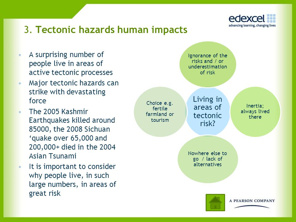 3. Tectonic hazards human impacts