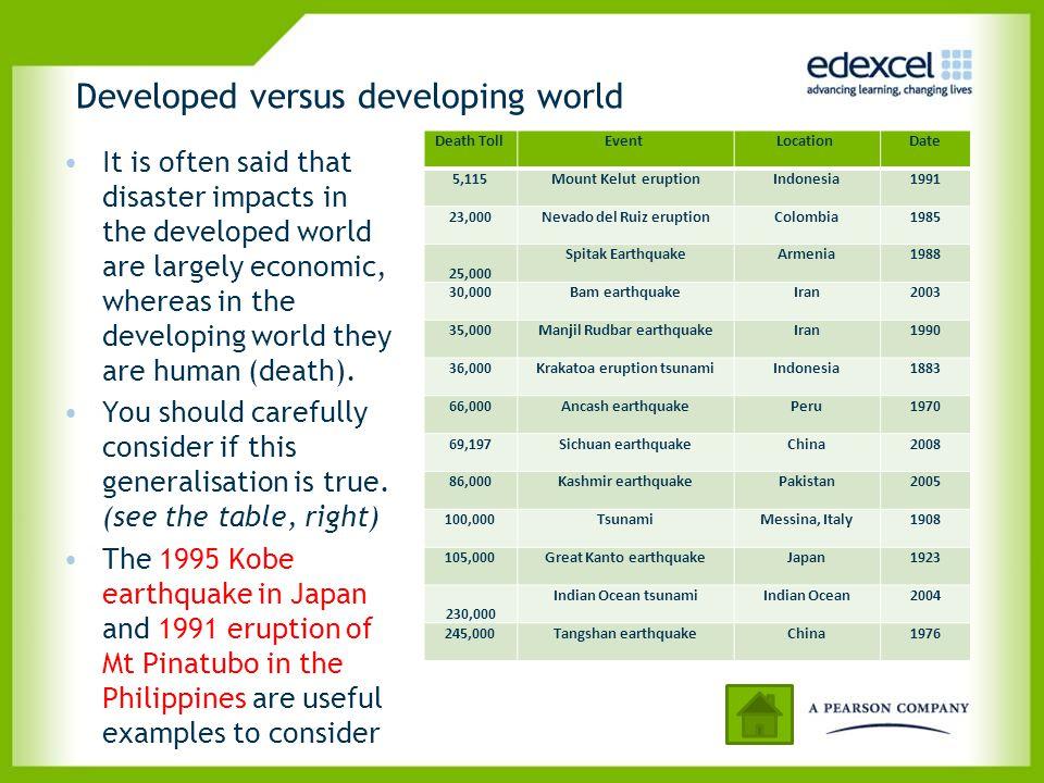 Developed versus developing world