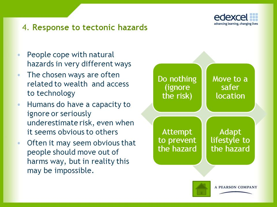 4. Response to tectonic hazards