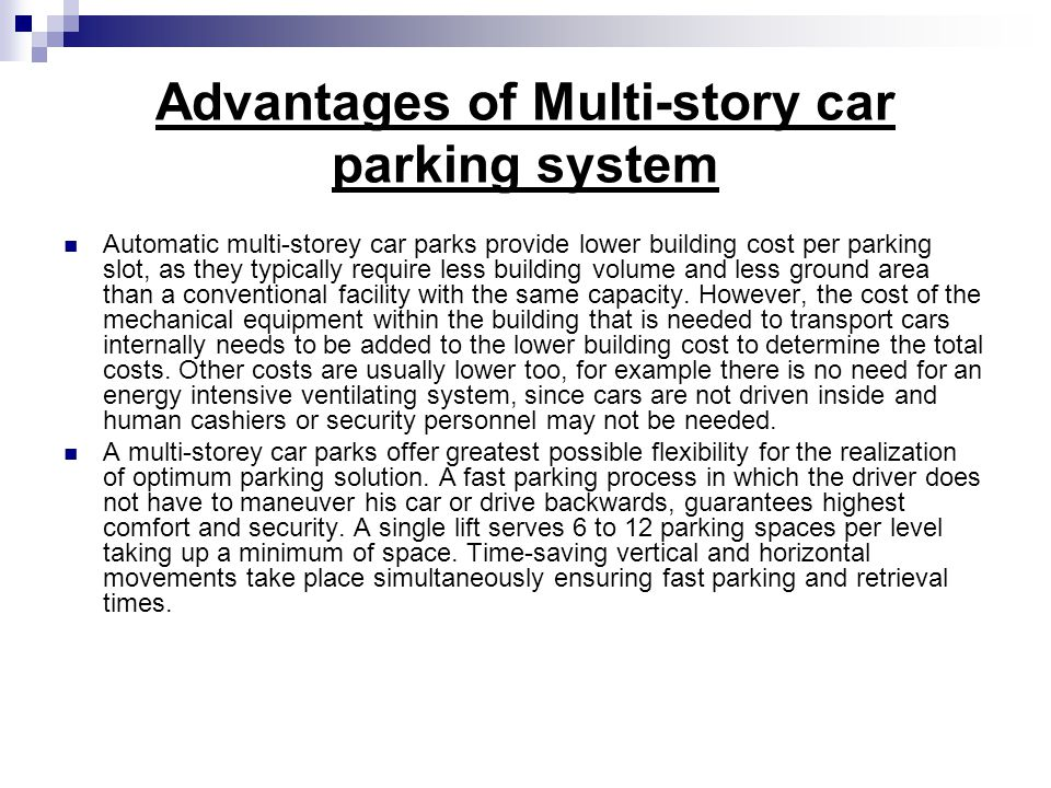 Advantages of Multi-story car parking system