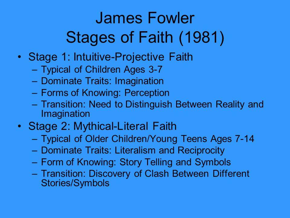 James Fowler Stages of Faith (1981)