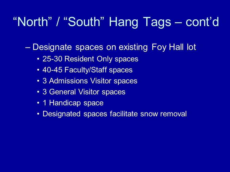 North / South Hang Tags – cont'd