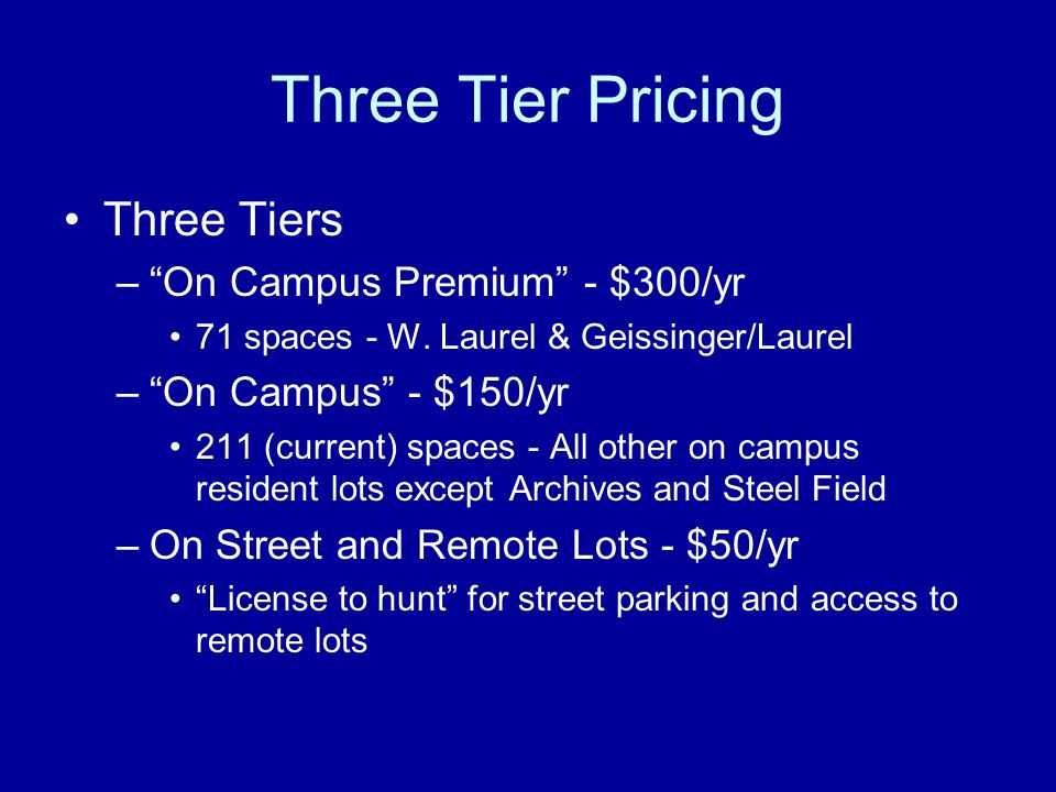 Three Tier Pricing Three Tiers On Campus Premium - $300/yr