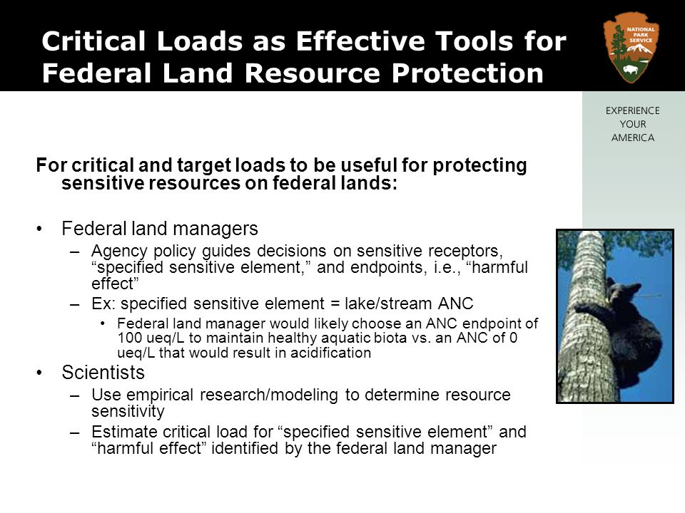 Critical Loads as Effective Tools for Federal Land Resource Protection