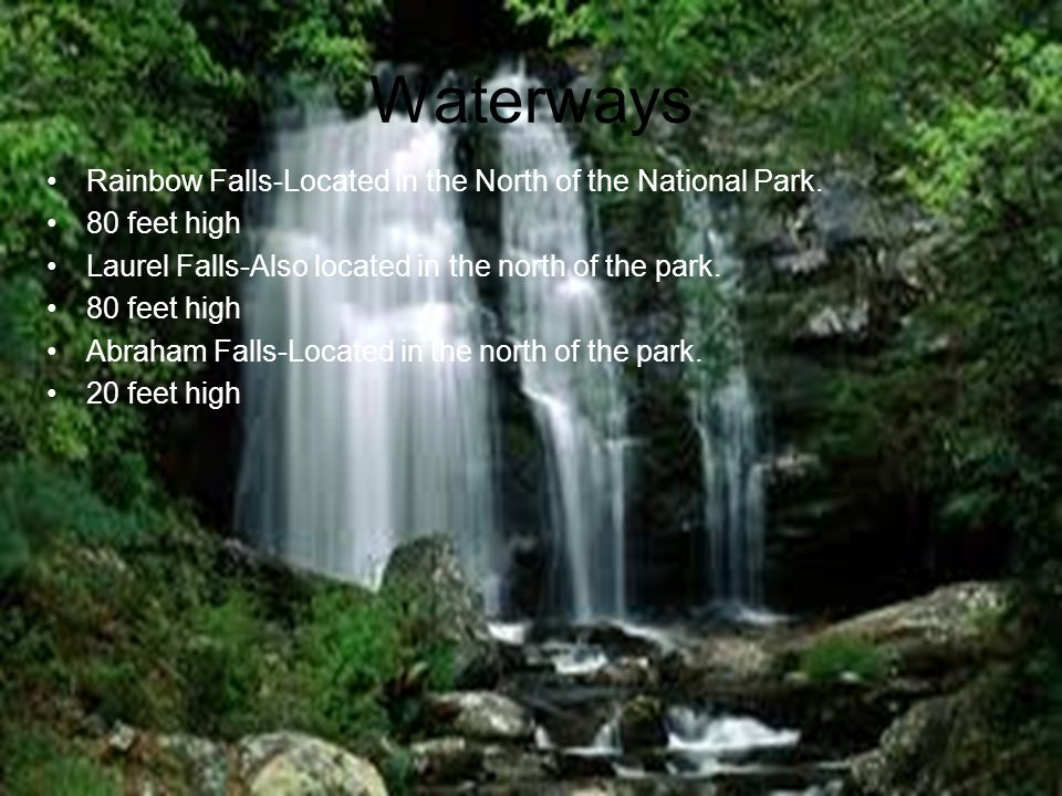 Waterways Rainbow Falls-Located in the North of the National Park.