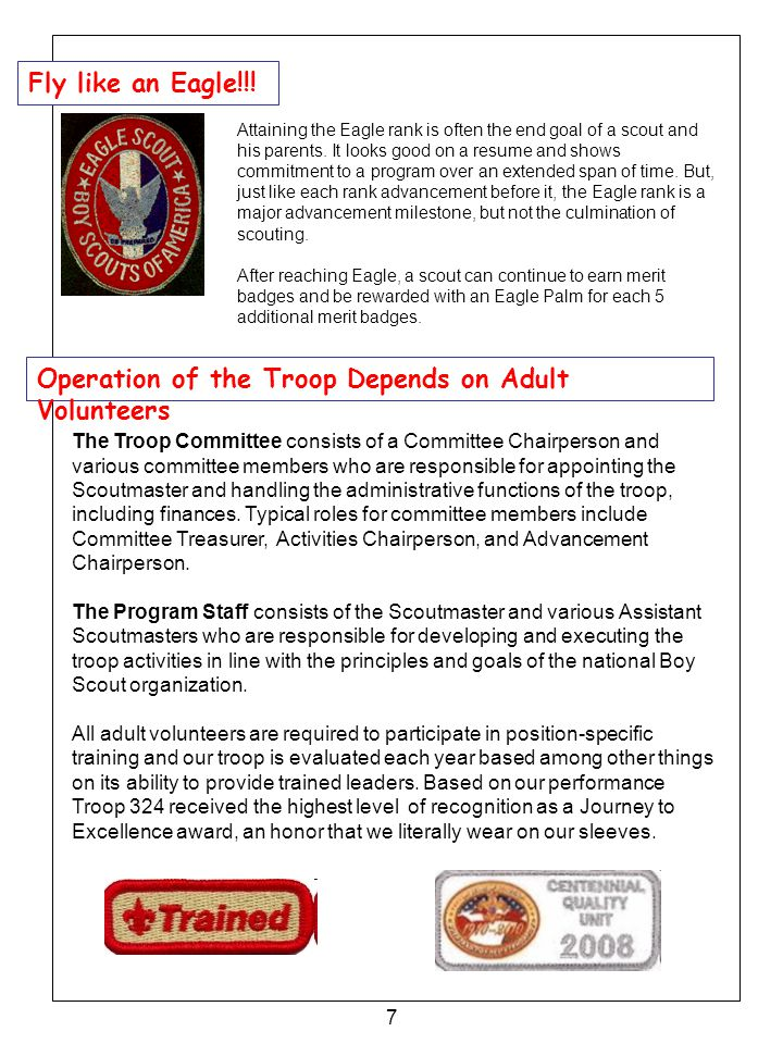 Operation of the Troop Depends on Adult Volunteers