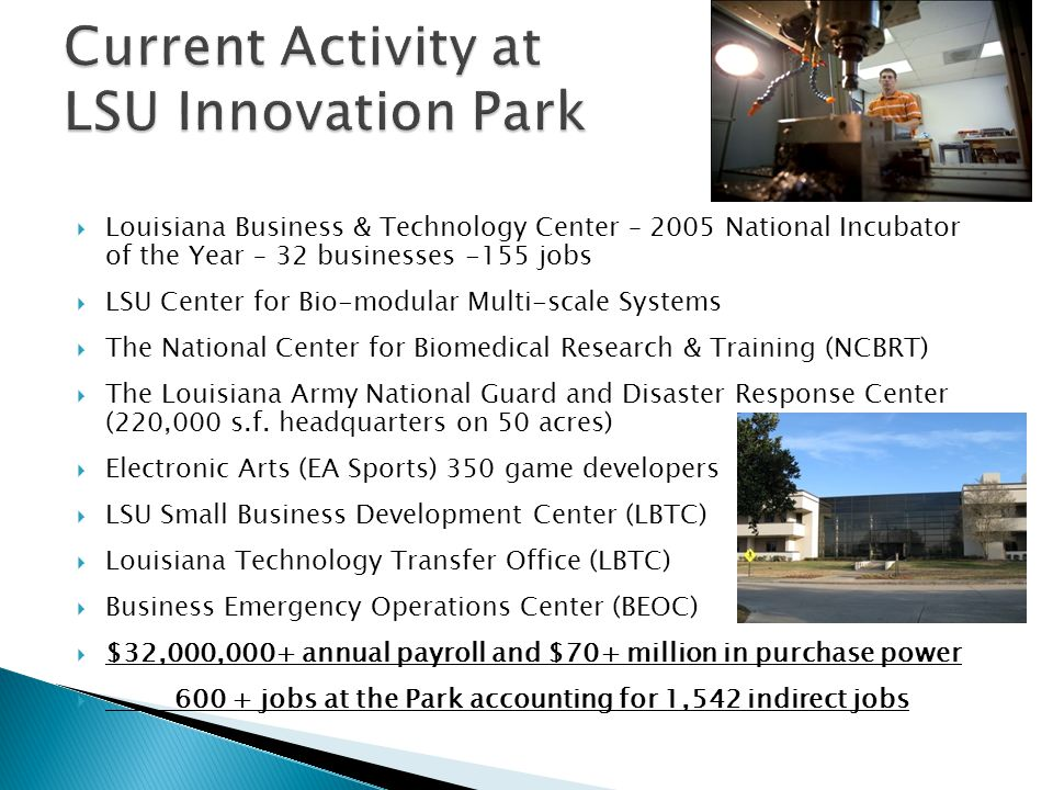 Current Activity at LSU Innovation Park