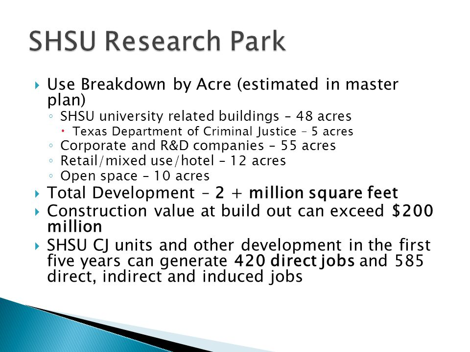 SHSU Research Park Use Breakdown by Acre (estimated in master plan)