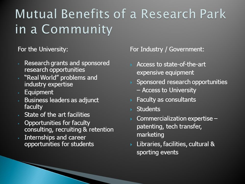 Mutual Benefits of a Research Park in a Community