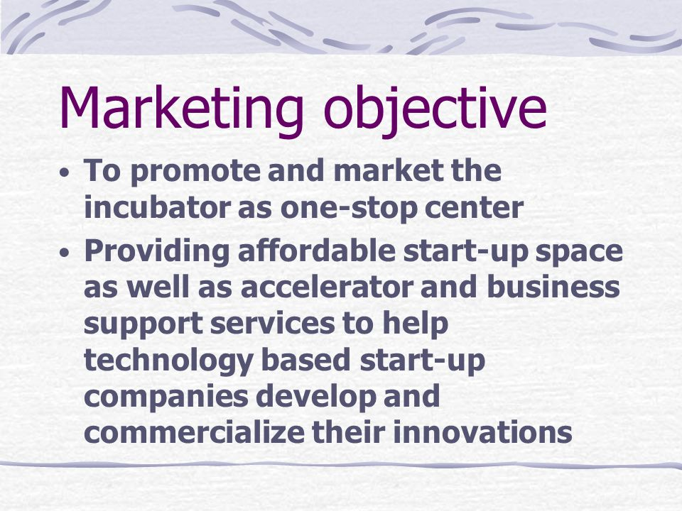 Marketing objective To promote and market the incubator as one-stop center.