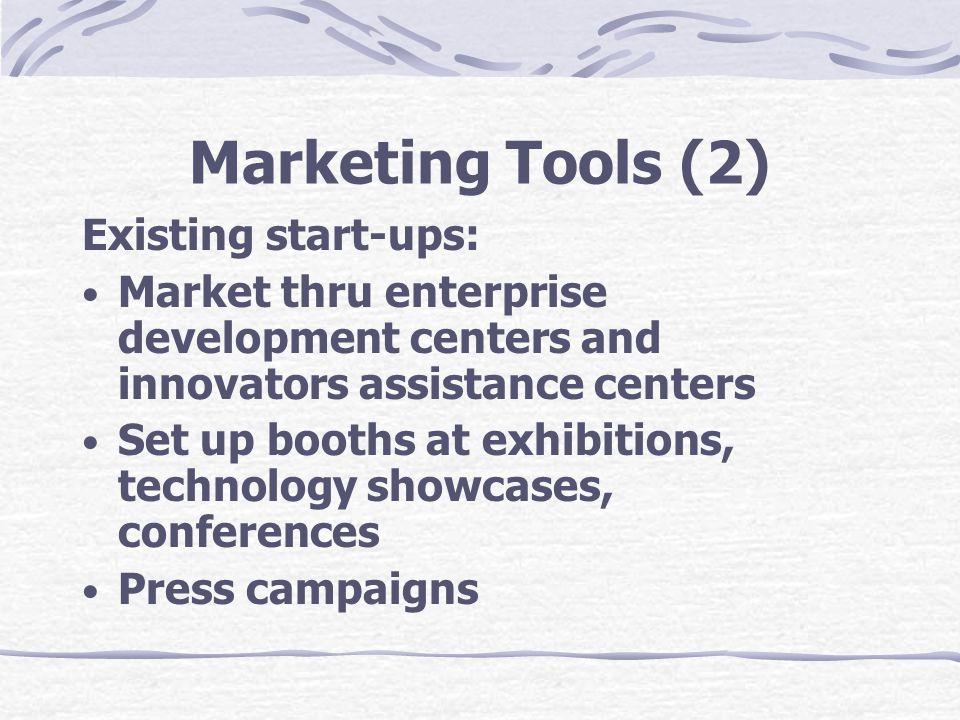 Marketing Tools (2) Existing start-ups: