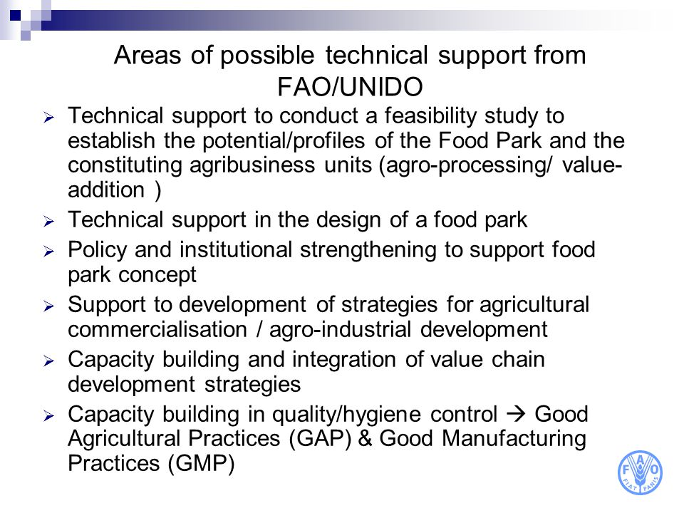 Areas of possible technical support from FAO/UNIDO