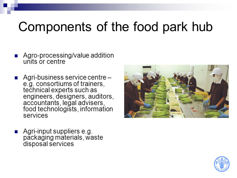 Components of the food park hub