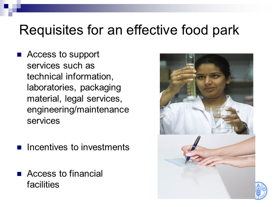 Requisites for an effective food park