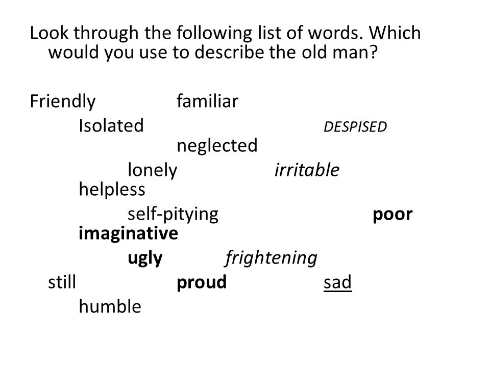 Look through the following list of words