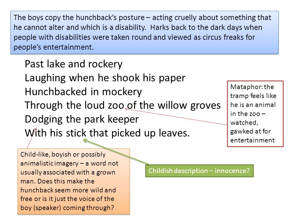 The boys copy the hunchback's posture – acting cruelly about something that he cannot alter and which is a disability. Harks back to the dark days when people with disabilities were taken round and viewed as circus freaks for people's entertainment.