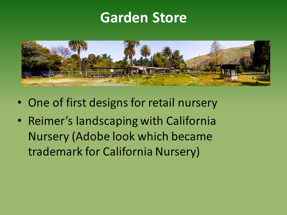 Garden Store One of first designs for retail nursery