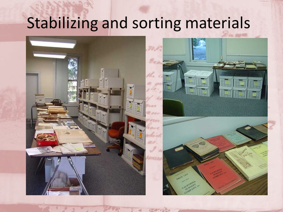 Stabilizing and sorting materials