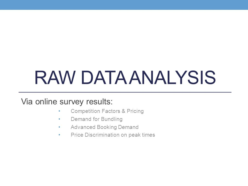 Raw Data Analysis Via online survey results: