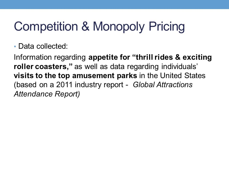Competition & Monopoly Pricing