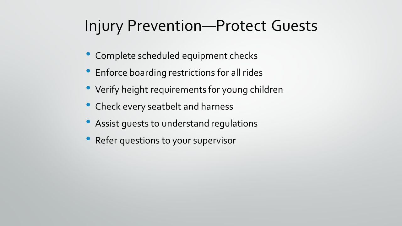 Injury Prevention—Protect Guests