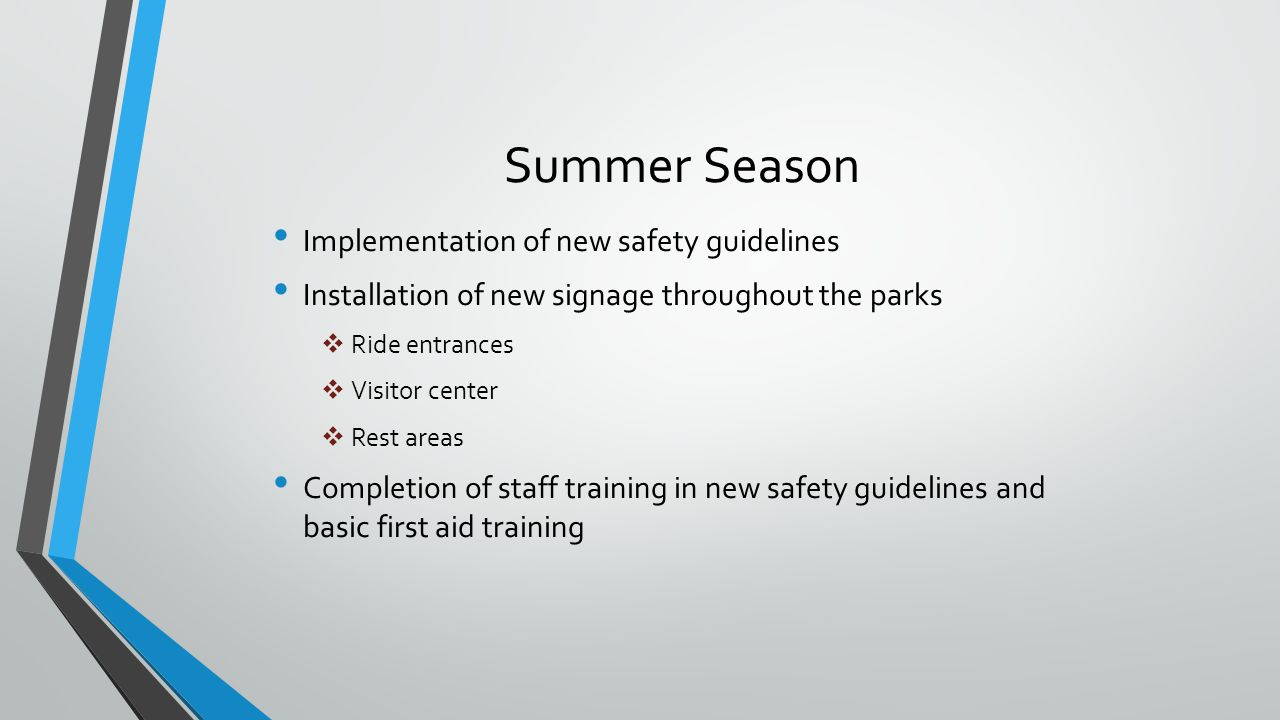 Summer Season Implementation of new safety guidelines