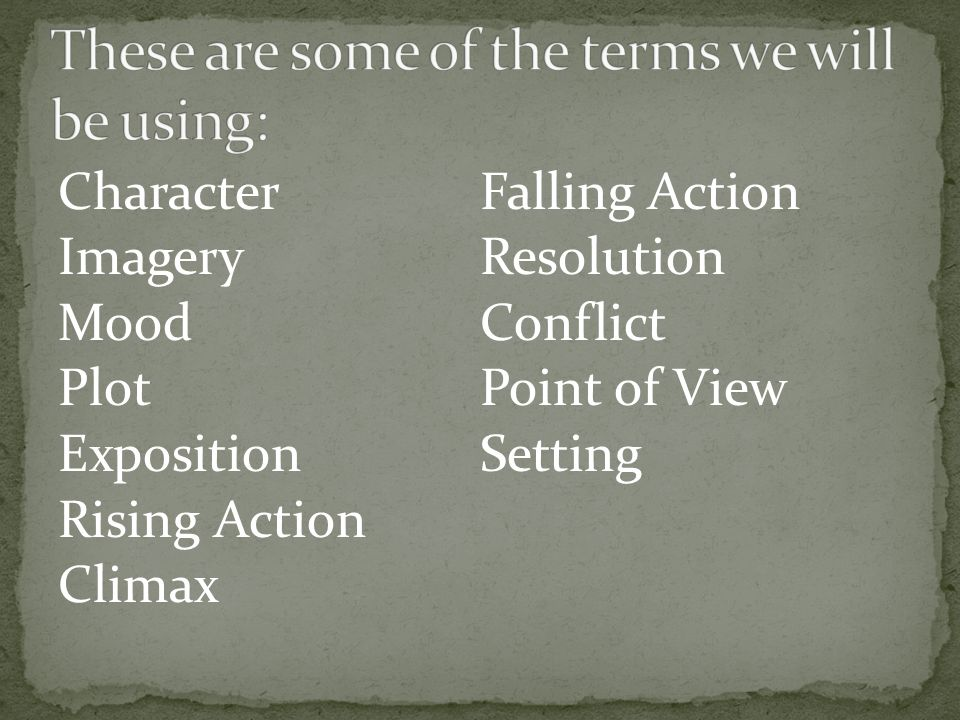 These are some of the terms we will be using: