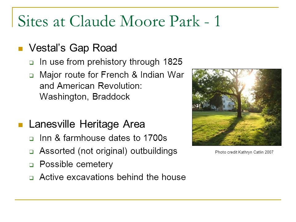 Sites at Claude Moore Park - 1