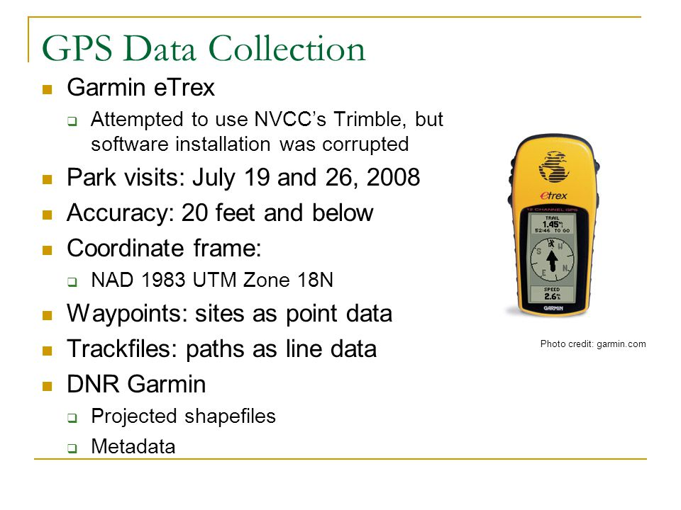 GPS Data Collection Garmin eTrex Park visits: July 19 and 26, 2008