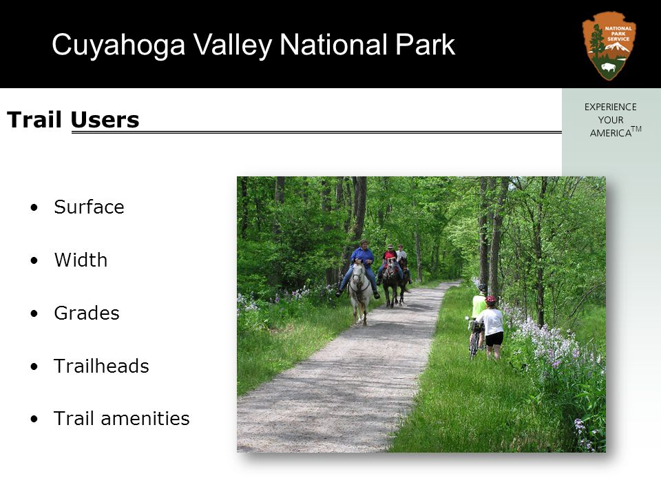 Trail Users Surface Width Grades Trailheads Trail amenities Cyclists
