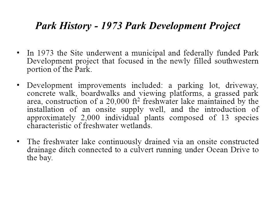 Park History - 1973 Park Development Project