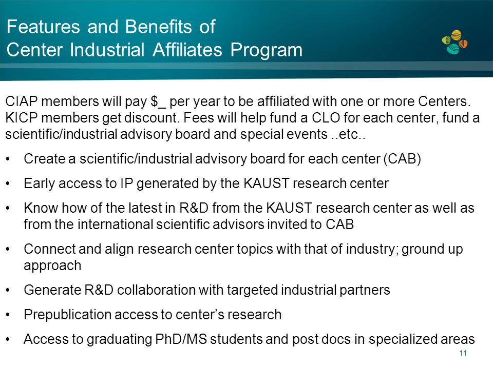 Features and Benefits of Center Industrial Affiliates Program