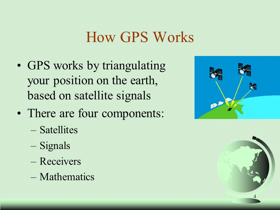 How GPS Works GPS works by triangulating your position on the earth, based on satellite signals. There are four components:
