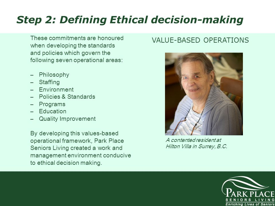 Step 2: Defining Ethical decision-making