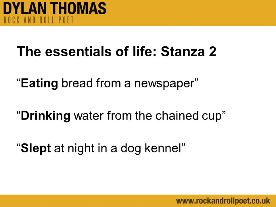 The essentials of life: Stanza 2