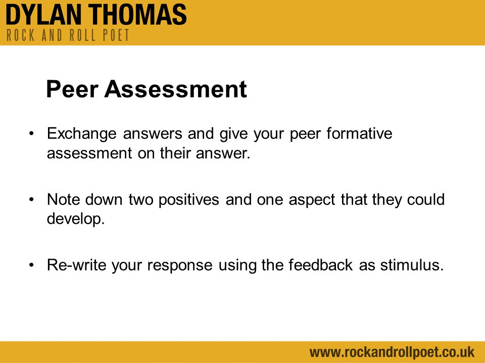 Peer Assessment Exchange answers and give your peer formative assessment on their answer.