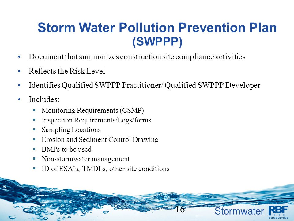 Storm Water Pollution Prevention Plan (SWPPP)