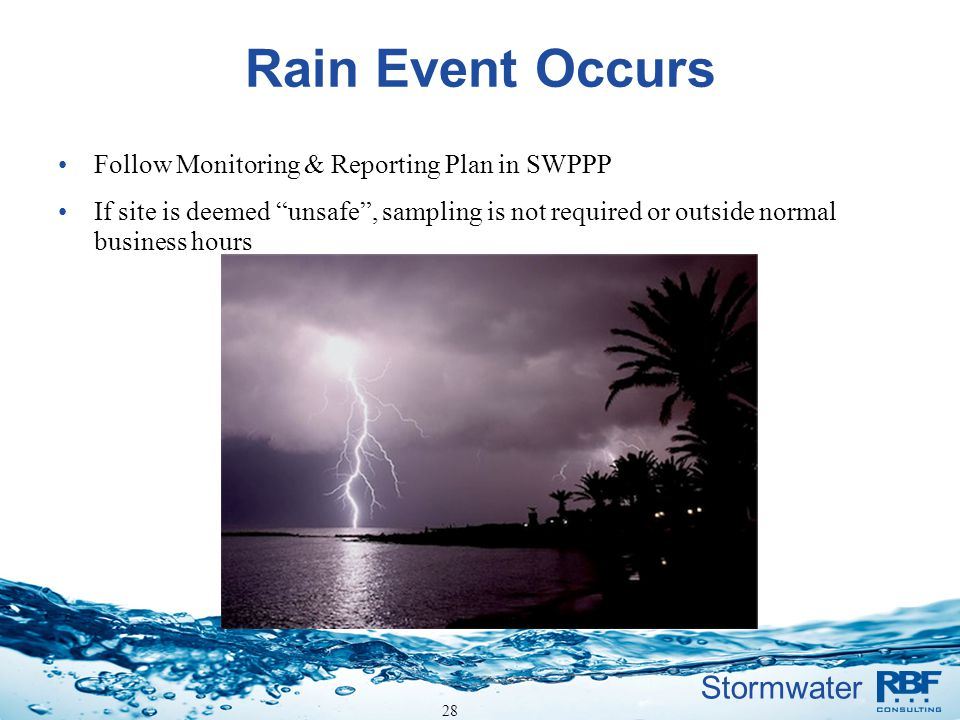 Rain Event Occurs Follow Monitoring & Reporting Plan in SWPPP