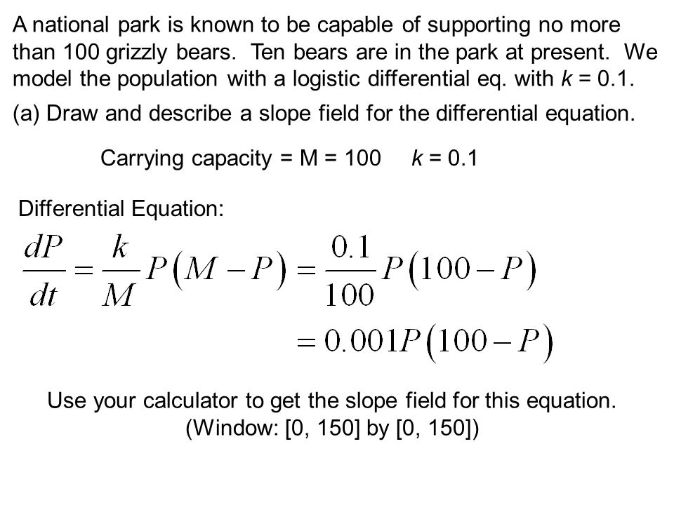 Use your calculator to get the slope field for this equation.
