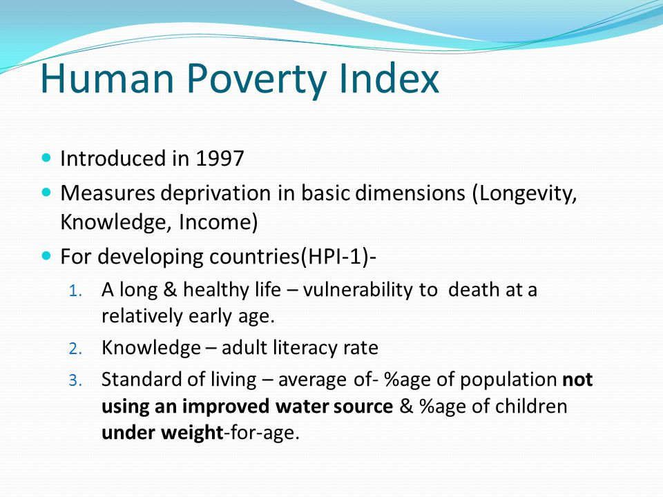 Human Poverty Index Introduced in 1997