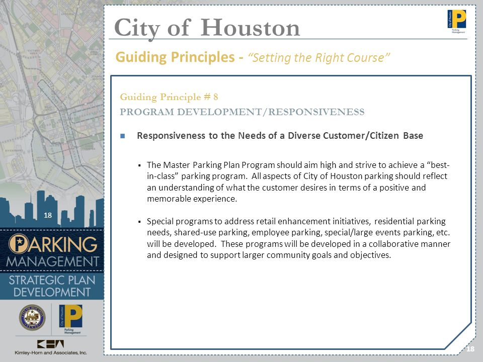 City of Houston Guiding Principles - Setting the Right Course