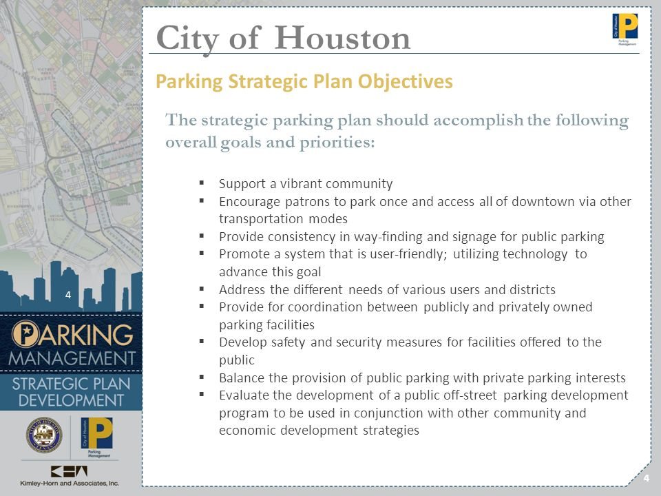City of Houston Parking Strategic Plan Objectives