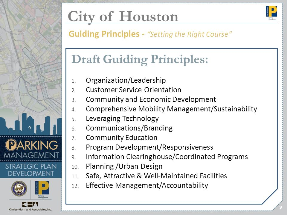 City of Houston Draft Guiding Principles: