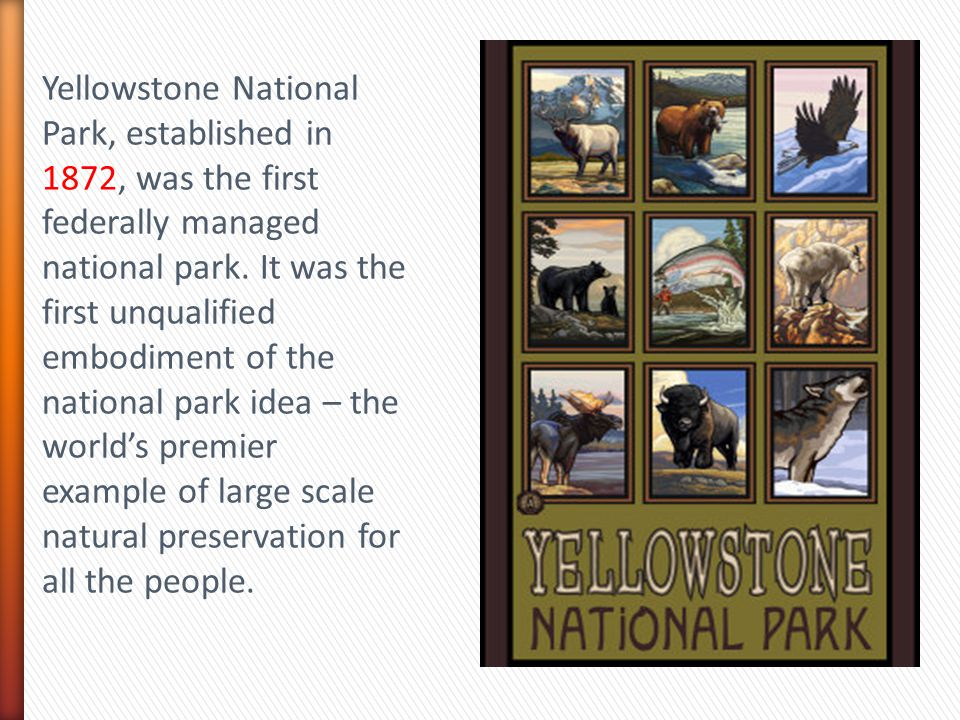 Yellowstone National Park, established in 1872, was the first federally managed national park.