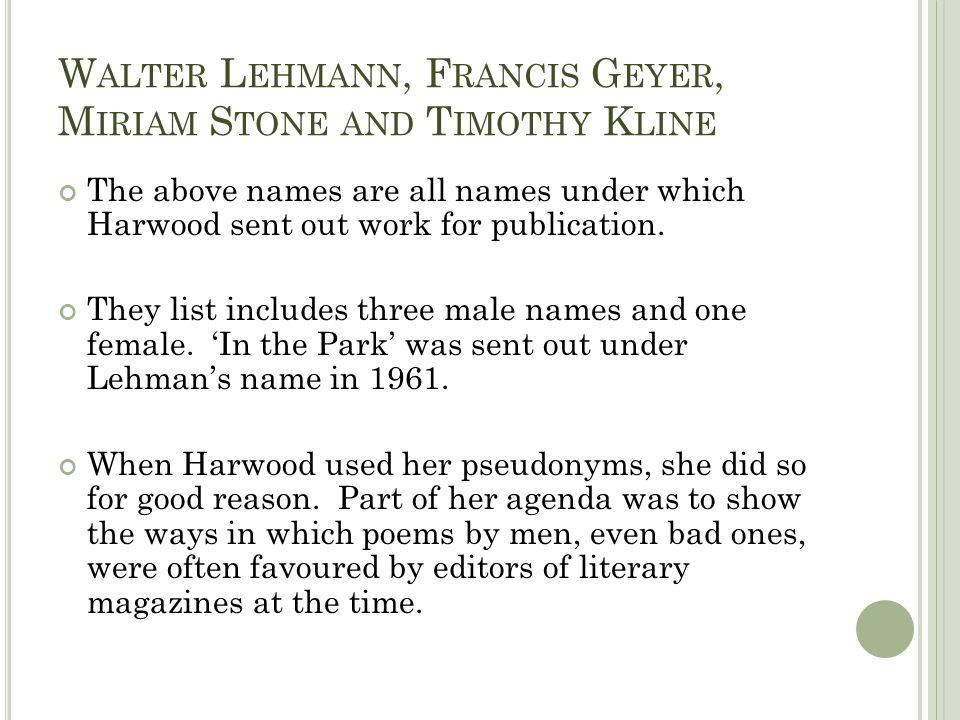 Walter Lehmann, Francis Geyer, Miriam Stone and Timothy Kline